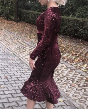 Pailletten Kleid in Weinrot