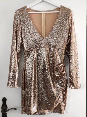 Pailletten Kleid mit V-Ausschnitt