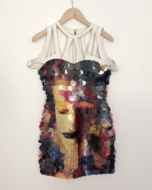 Pailletten Kleid mit weissem Leder Schulter-Detail