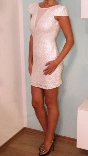 Pailletten Kleid Weiss Gr. 36 rückenfrei Mesh Blogger Party Silvester