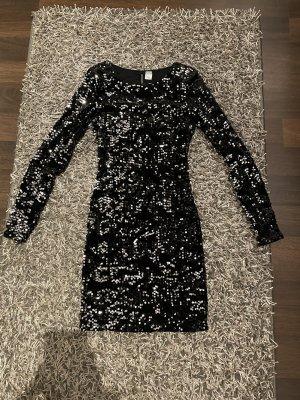 H&M Divided Vestido de lentejuelas negro-color plata