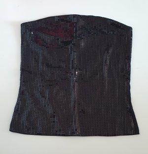 Pailletten Shirt Bandeau Top schwarz Gr 38