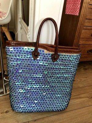 Shopper korenblauw-bruin