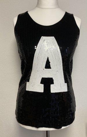 Pailletten-Top AC Ann Christine Gr. S schwarz weiß neuwertig