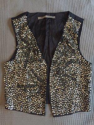 Zara Veste à franges noir-argenté