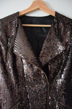 Snob Biker Jacket black brown polyester
