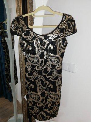 Vestido de lentejuelas negro-color bronce