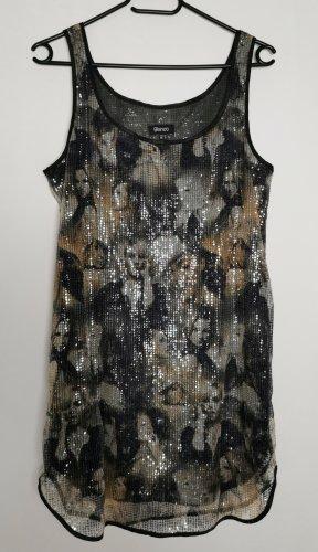 Cekinowa sukienka czarny-ochra Poliester