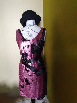 Robe à paillettes noir-or rose