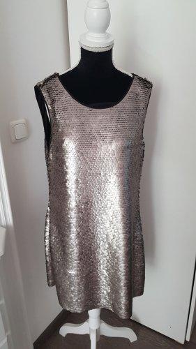 Zara Basic Sequin Dress silver-colored