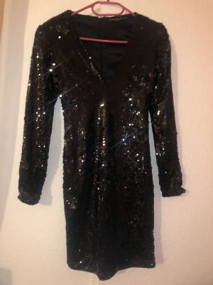 Bershka Cekinowa sukienka czarny