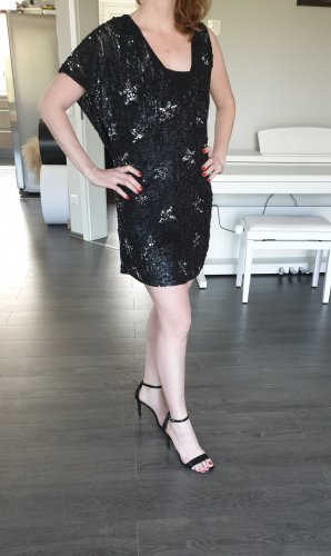 Zara Robe à paillettes noir-argenté