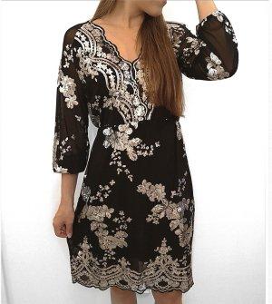 paillettenkleid dress silvester silber schwarz gr. 34-38