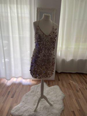 Reserved Cekinowa sukienka w kolorze różowego złota-złoto