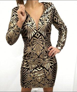 paillettenkleid gold schwarz silvester Weihnachten 34 36 38