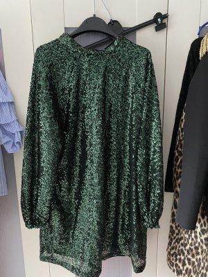 Paillettenkleid grün schwarz Turtle Neck