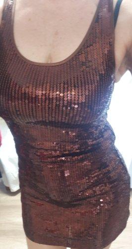 Paillettenkleid kupfer Zara M