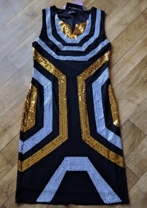 Apart Fashion Jurk met pailletten zwart-sleutelbloem Textielvezel
