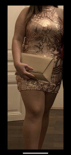 Sukienka z dekoltem typu halter w kolorze różowego złota-kremowy