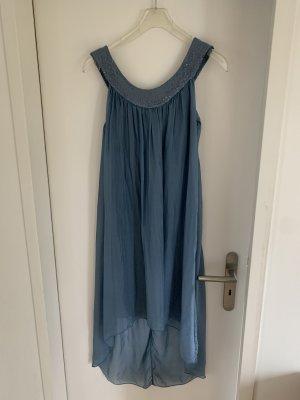 Vestido de lentejuelas azul acero