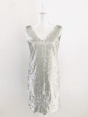 Paillettenkleid von Vila, Gr. XS, silber, Material: Shell 100% Polyester/ Lining 95% Polyester und 5% Elasthan, wie neu