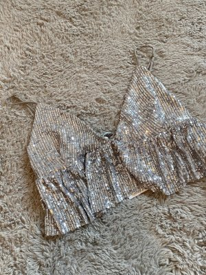 Pull & Bear Top tipo bustier color plata