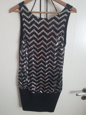 TRF Vestido negro-color plata