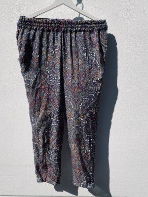 Paisley-Print Hose aus Seidensatin mit elastischem Bund