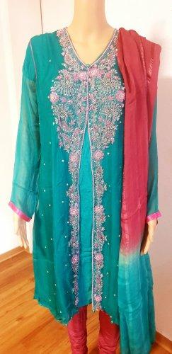 Aus Indien Evening Dress pink-light blue
