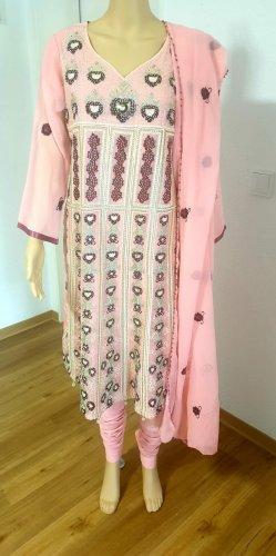 Aus Indien Szyfonowa sukienka w kolorze różowego złota