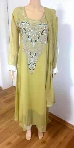 Aus Indien Sequin Dress lime yellow