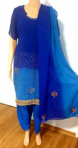 Aus Indien Vestido de noche color oro-azul