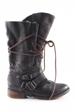 Pakros Aanrijg laarzen zwart casual uitstraling
