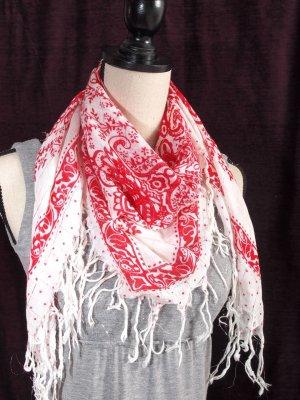 Tela palestino blanco-rojo oscuro tejido mezclado