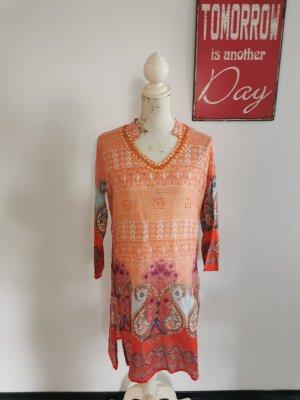 Sukienka o kroju koszulki pomarańczowy neonowy-ciemny pomarańcz Bawełna