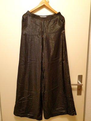 H&M Pantalone palazzo nero-oro