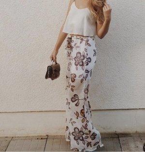 Pantalon palazzo blanc-rosé