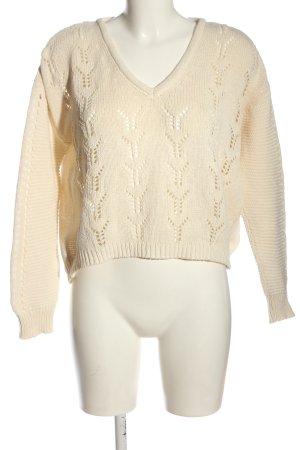 Pamela x Na-kd Szydełkowany sweter w kolorze białej wełny Warkoczowy wzór