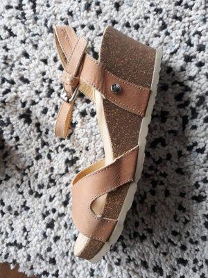 Panama jack Platform Sandals sand brown leather