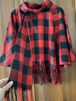 Zara Knitted Poncho black-carmine