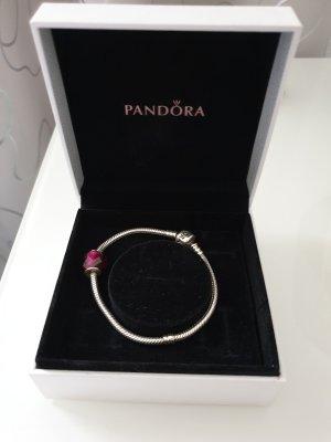Pandora Zilveren armband zilver-framboosrood