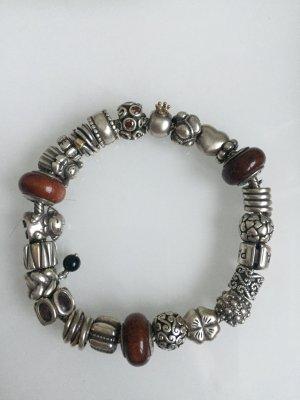 Pandora Armband Silber Gold braun Clips zwischenelemente Steine Holz