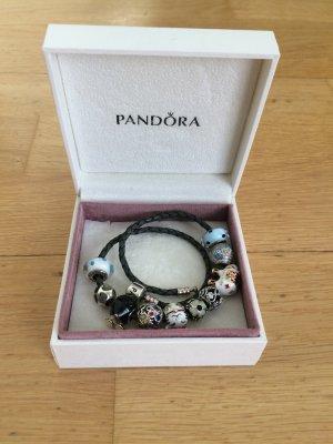 Pandora Pulsera de dijes gris antracita Cuero