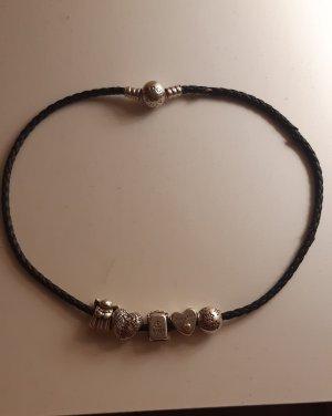 Pandora Armbandje met bedels grijs-zwart