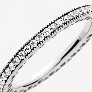 Pandora Signature Ring, Sparkle & Hearts Ring , Größe 50