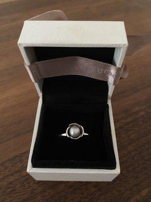 Pandora Silberring mit grauer Perle