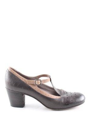 Pantanetti Zapatos de tacón con barra en T marrón look vintage