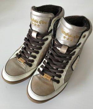 Pantofola d'Oro Damen Sneaker Hi Top Leder 37 Gold Beige Nude Boots Schuhe