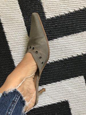 Sandalias con tacón color bronce-color plata