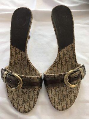 Christian Dior Mule à talon beige-brun foncé
